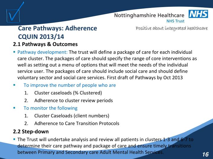 Care Pathways: Adherence