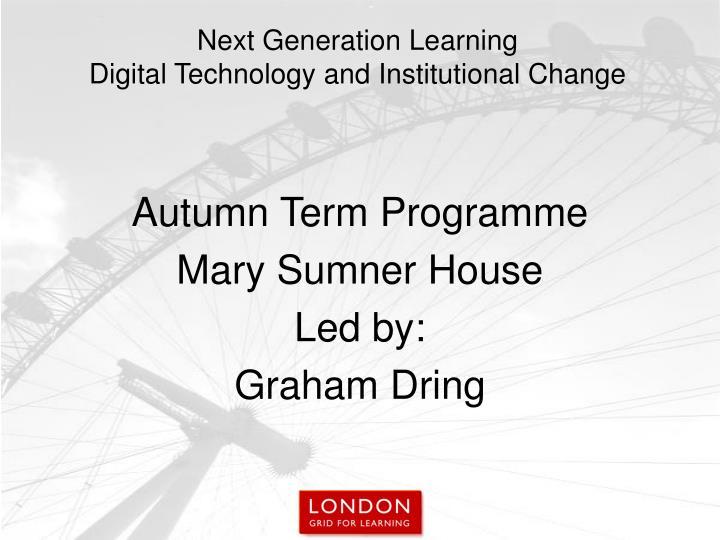 Autumn Term Programme