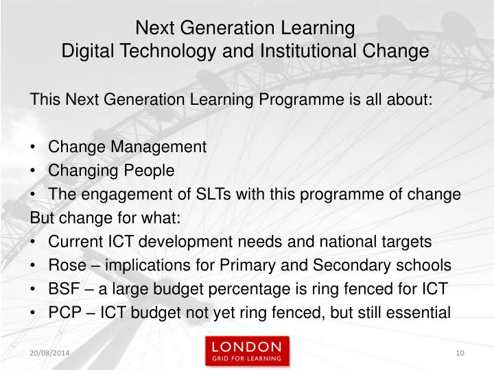 This Next Generation Learning Programme is all about: