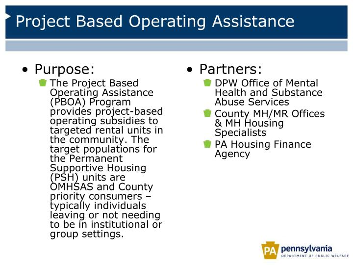 Project Based Operating Assistance