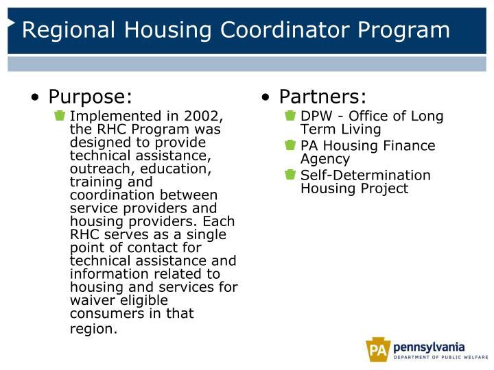 Regional Housing Coordinator Program