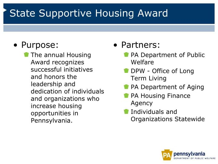 State Supportive Housing Award