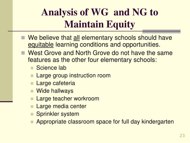 Analysis of WG  and NG to Maintain Equity