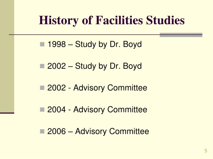 History of Facilities Studies