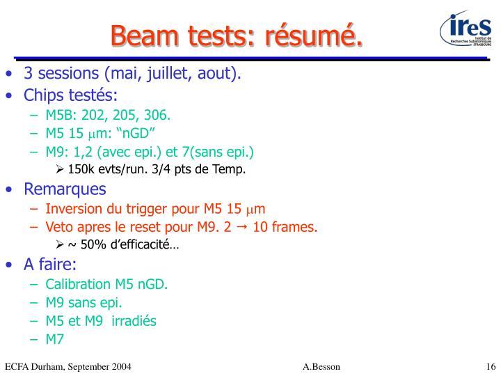 Beam tests: résumé.