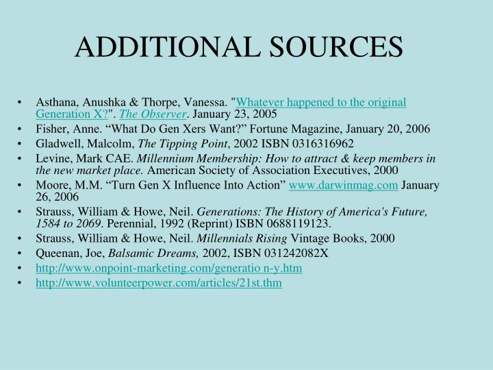 ADDITIONAL SOURCES
