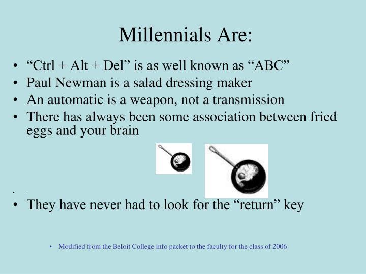 Millennials Are: