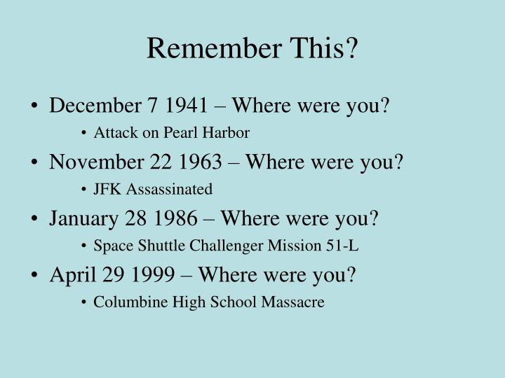 Remember This?