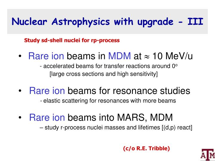 Nuclear Astrophysics with upgrade - III