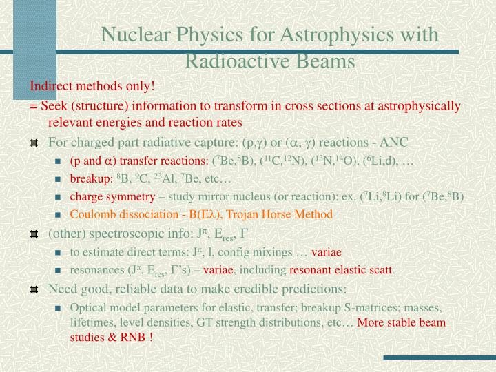Nuclear physics for astrophysics with radioactive beams1