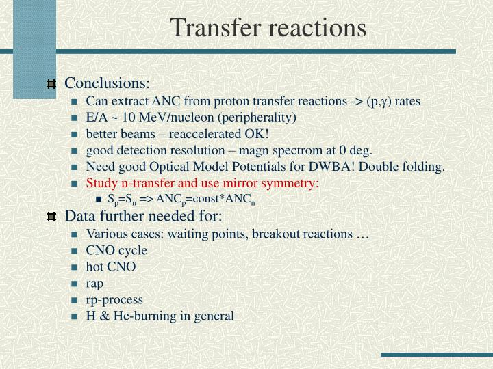 Transfer reactions