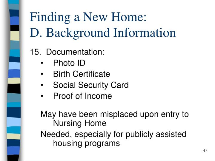 Finding a New Home: