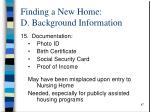 finding a new home d background information1