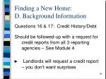 finding a new home d background information2