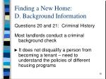 finding a new home d background information4