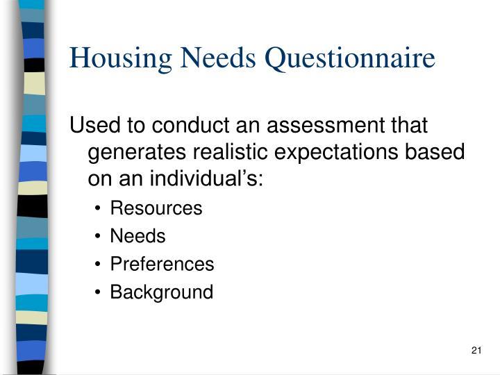 Housing Needs Questionnaire