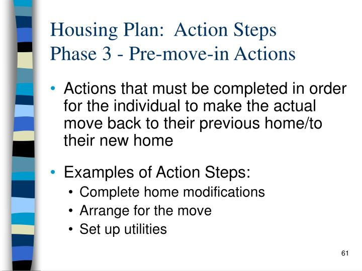 Housing Plan:  Action Steps