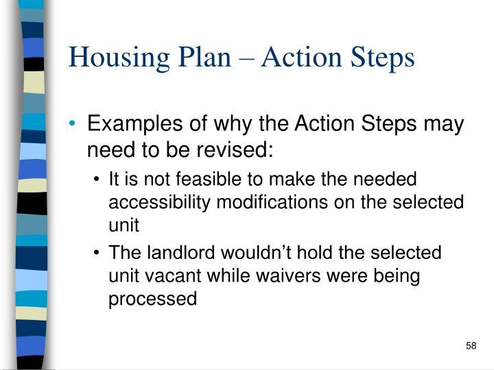 Housing Plan – Action Steps