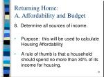 returning home a affordability and budget