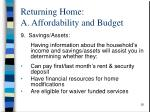 returning home a affordability and budget1