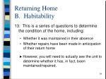 returning home b habitability