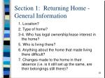 section 1 returning home general information