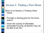 section 2 finding a new home