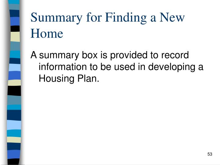 Summary for Finding a New Home