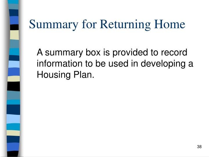 Summary for Returning Home