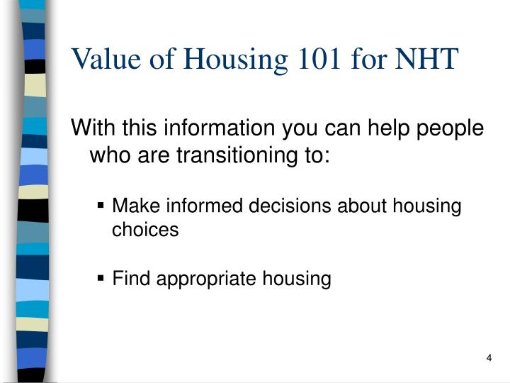 Value of Housing 101 for NHT