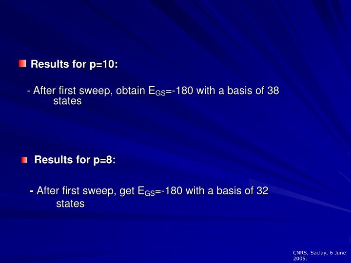 Results for p=10:
