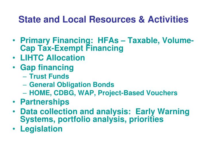 State and Local Resources & Activities