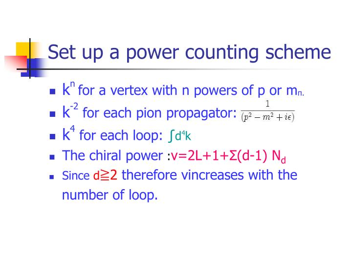 Set up a power counting scheme