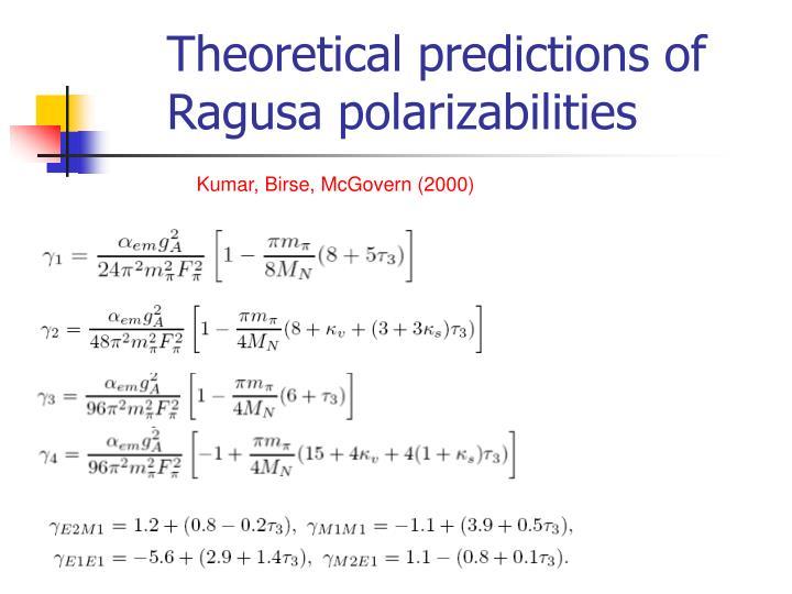 Theoretical predictions of Ragusa polarizabilities
