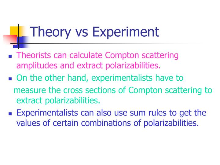Theory vs Experiment