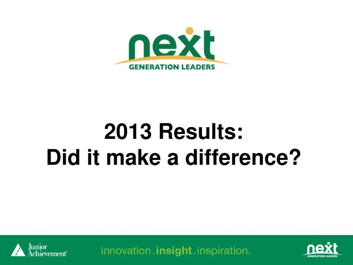 2013 Results: