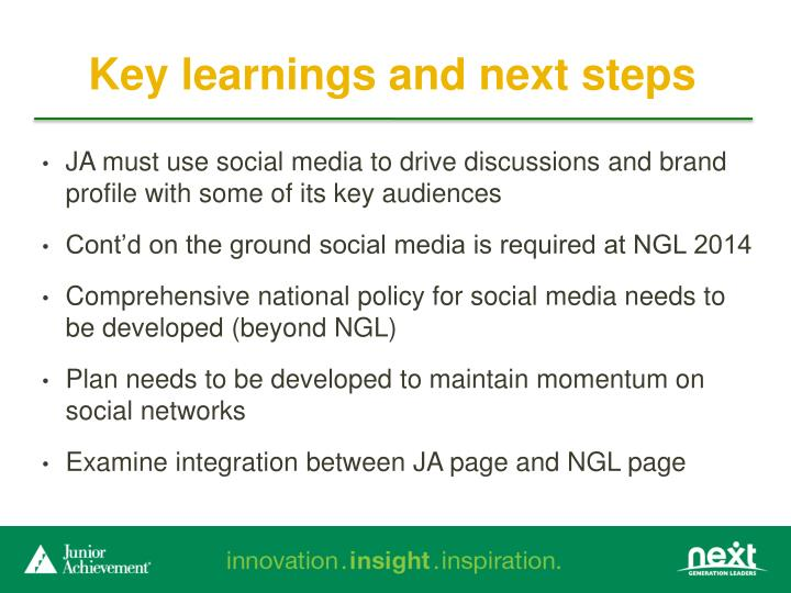 Key learnings and next steps
