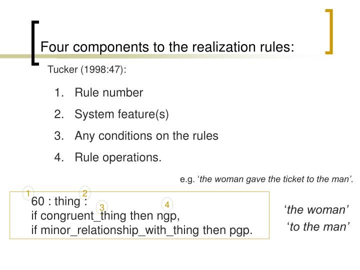 Four components to the realization rules: