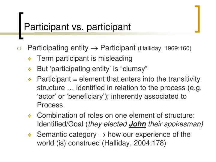 Participant vs. participant