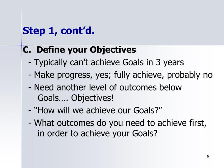 C.  Define your Objectives