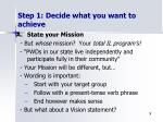 step 1 decide what you want to achieve