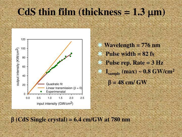CdS thin film (thickness = 1.3