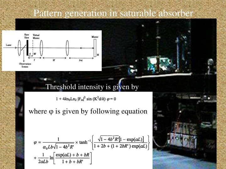 Pattern generation in saturable absorber