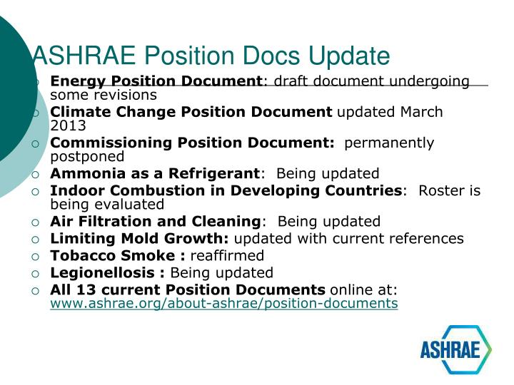 ASHRAE Position Docs Update