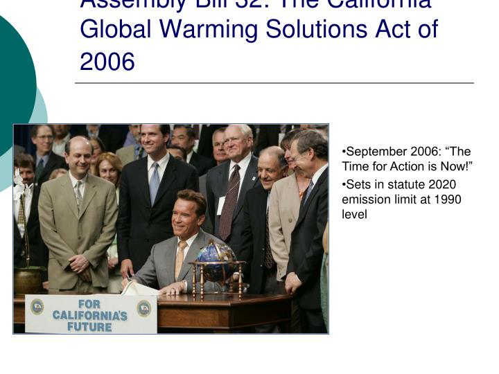 Assembly Bill 32: The California Global Warming Solutions Act of 2006