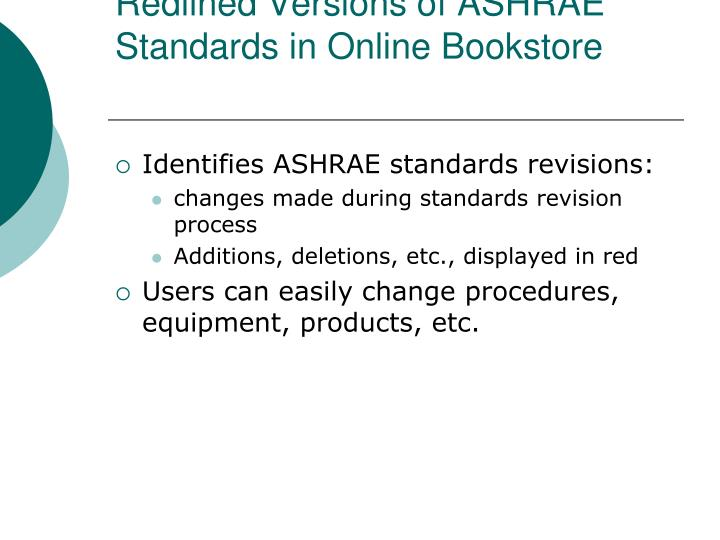 Redlined Versions of ASHRAE Standards in Online Bookstore