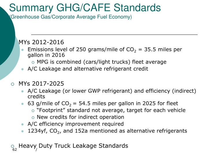 Summary GHG/CAFE Standards