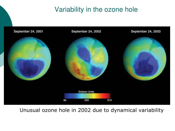 Variability in the ozone hole