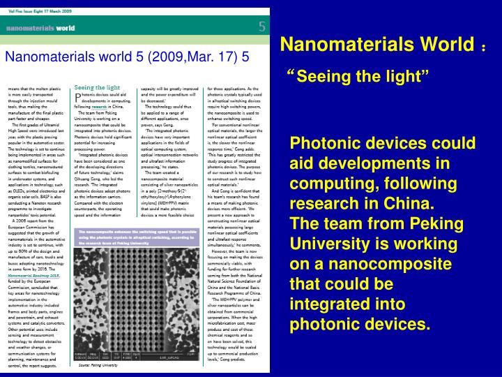 Nanomaterials World
