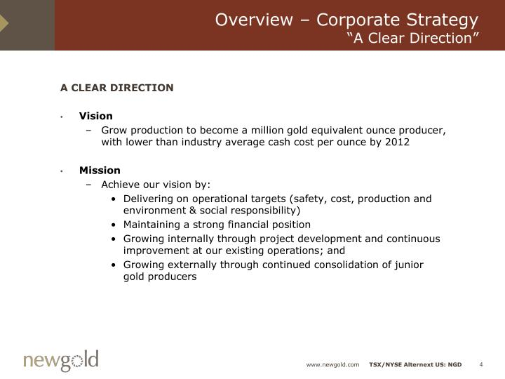 Overview – Corporate Strategy